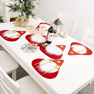 NewChristmas Dinning Runner Placemat Santa Claus 5-6PC Set Xmas New Year Tablecloth Table Flag