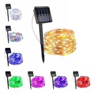 8color 33FT Solar String Lights Outdoor Waterproof Warm White Solar Lights Copper Lights for Christmas Decoration Patio Wedding AHB2432