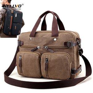 Men Canvas Briefcase Business Laptop Handbag Large Messenger Shoulder Bag Big Casual Male Tote Back Bags Travel Suitcase XA162ZC 200929