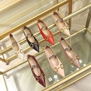 Designer women buckle flat ballet shoes Genuine leather Pointed loafers Fashion women Princetown Ladies Casual Fur Mules Flats Rr1