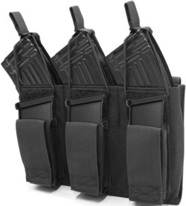 Tactical Mag Kosse Pouch for Rifle and Pistol, Open-Top Molle Elastic Triple Magazine Pouch with Bungee Straps for M4 M14 G36 HK416