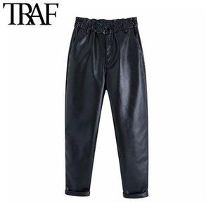 Traf Kadınlar Vintage Şık Sahte Deri Yüksek Waisted Harem Pantolon Moda Elastik paperbag Bel Kadın Pu Ayak bileği pantolon Pockets