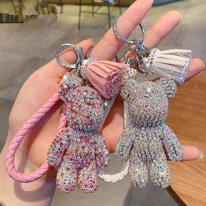 bande dessinée créative complète diamant ours houppe voiture trousseau pendentif mignon sac mâle et femelle porte-clés mignon cadeau de Noël cadeau GWB2452