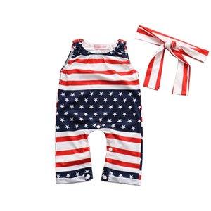 Estate del bambino a strisce della bandiera americana delle tute Independence National Day USA 4 maniche Stella luglio pagliaccetto del bambino Contiene Fasce