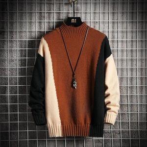 Mens Fashion contraste da cor das camisolas roupa do outono inverno Pull OverSize 5XL 6XL 7XL Coréia do estilo capuz Casual