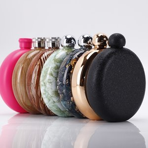 5Oz Mini Round 304 stainless steel Wine Bottle Portable Marble Pattern drinkware Lid Hip Flask