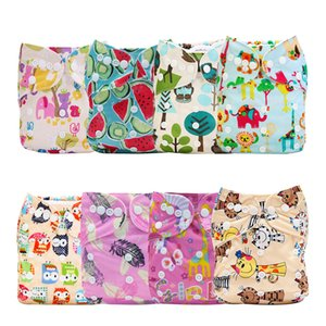 [Mumsbest] 8PCS Pack Reusable Pocke Baby Printed Cloth Diaper Wholesale Price t Breathable Nappy Cover Diaper Sent Random Color 1016
