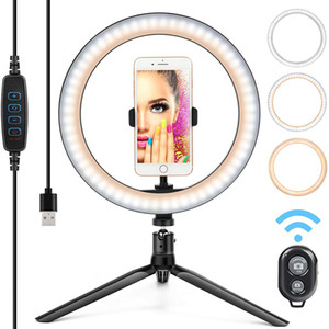 10'' Selfie Ring Light with Tripod Stand Cell Phone Holder,LED Make Up Light with 3 Light Modes for Camera YouTube Video tiktok LJ200904