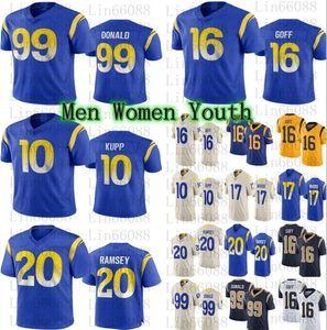 Nuove 2020 donne giovani uomini 99 Aaron Donald 16 Jared Goff 20 Jalen Ramsey 10 Cooper KUPP 17 Robert Woods Jerseys