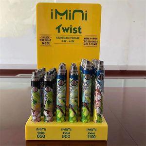 Twist New Imini Batteriespannung Adjustable Vape Feder 24pcs / lot 25pcs / lot 350 650 900 1100 E-Zigarette 1300mAh Akku Cartoon-Muster