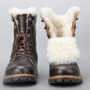 Natural Wool Winter Boots Warmest Handmade Men Winter Shoes Genuine Leather Snow Boots #YM1568 201023