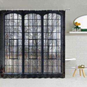 American Industrial Iron Old Window Pattern Shower Curtain Winter Forest Landscape Bathroom Decor Creative Waterproof Curtains