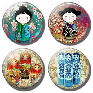 Plum Blossom Kokeshi 30 MM Fridge Magnet Japanese Doll Glass Cabochon Magnetic Refrigerator Stickers Note Holder Home Decor C0927