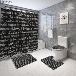 Merry Christmas Bathroom Set Set Seat Cover Nero Doccia Tenda e tappeti Set Testo Stampa Bagno Tappetino da bagno Decorazione vacanze HWWE4661
