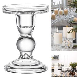High Candlestick Transparent Glass Candle Holders Home Decor Candlesticks for Pillar Candle Taper Candle bougeoir LBShipping T200703