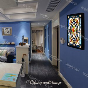 Wall Lamps 36W Nordic Retro Mediterranean Creative Blue Glass Mural Lamp For Living Room Dining Room Bedroom Bedside Bathroom Lamp DHL