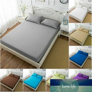 Solid Bed Fitted Sheet Elastic Sheets Pillowcase Polyester & Cotton Soft Single Twin Full Queen King