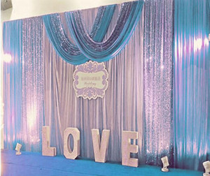 Unicorn party decortions 3Mx6M Wedding Backdrop curtains with Silver Purple Sequins swag Celebration Stage Performance Background props