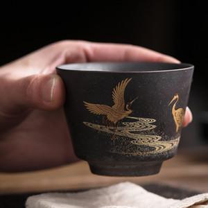 Creative Vintage Home Decor Tea Cup Coarse Pottery Green Tea Maker Cup Antique Glaze Teacup Tea Set Master Cup