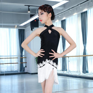 Latin Dance Dress Children Summer Dance Clothes Sleevesless Fringe Skirt Rumba Girls Performance Dress Kids Latin BL3443