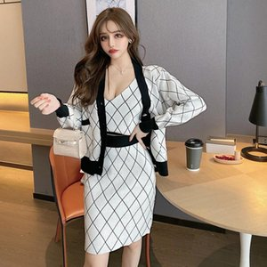 Temperament women's suit 2020 new long-sleeved small coat color matching sling top + skirt three-piece knitted suit