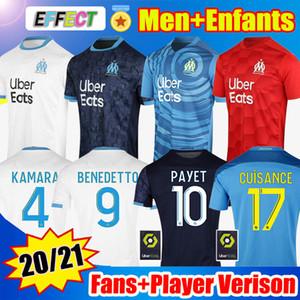 Maillot de football Olympique de Marseille 2020 2021 OM Fans Version Joueur Maillot De Foot PAYET THAUVIN KAMARA BENEDETTO Polo Enfants Kids 20 21 maillots Soccer Jersey