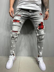 New Skinny Jeans Men Ripped Hole Plaid Patchwork Pleated Denim Pencil Pants Big Size S-3XL Hip Hop Broken Jeans Hombre Trousers