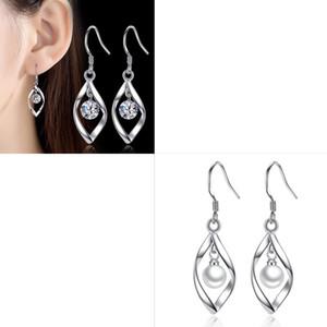 Püsküller Eardrop Takı Aksesuarları Ters İnci Zirkon Alaşım Gümüş Kaplama Döndür Kulak Çiviler Kadınlar Narin Dangle Küpe Moda 2WZ M2