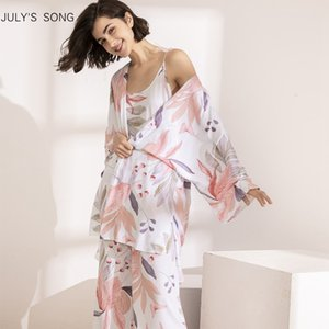 Julys Song 3 Pcs Women Pajamas Set Viscose Floral Printed Female Pyjama Loose Elegant Pink Leave Nightwear Spring Summer Robe 201102