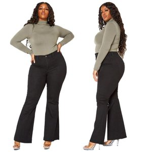Tmustobe XL-5XL Plus Size Slim Mom Jeans 2020 Autumn Winter Washed Baggy Jeans Casual Trousers Streetwear High Waist Flare Pants