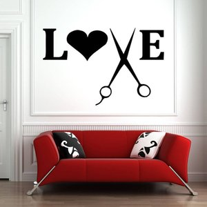 Hair Salon Wall Decal Quote Scissors Wall Window Decals Art Barber Shop Wall Stickers Heart Beauty Salon Pattern Removable