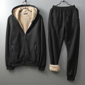 Winter Men Set 2020 Warm Tracksuit Men Set Lamb Cashmere Hoodies Sweatpants Clothes Sets Zipper Tracksuit Mens Sports Suit