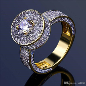 Luxury Cubic Zirconia Rings Mens 18K Gold Plated Jewelry High Quality Brand Hiphop Diamond Rings Wholesale