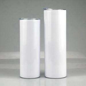 20oz 30oz Skinny Tumblers Blank Sublimation Tazza da caffè tazza sottile con coperchio e plastica in acciaio inox tazze di birra in acciaio inox MARE SPEDIZIONE RRA4075