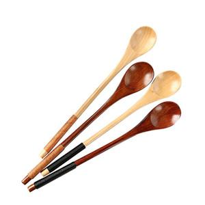 Экологичный набор из 6 Длинной ручки деревянной ложки Кофе Чай ложка натурального дерево Десерт Мед Spoon Bar Посуда Аксессуары DWE2501