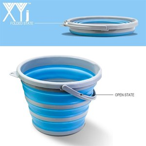 XYj Folding Bucket 3.69Gal 14L Portable Collapsible Bucket Water Basin Container For Hiking Camping Fishing Travelling Gardening LJ201130