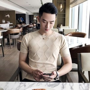 Round collar thin kind of icy silk short sleeve T-shirt men's cultivate one's morality render unlined upper garment T-shirt