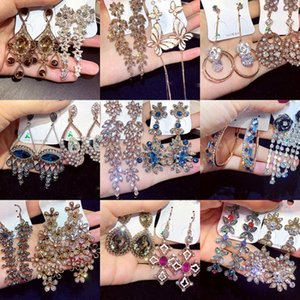 New Gorgeous Long Retro Earrings With Czech Rhinestones Fashion Queen Earrings Gold Pated Ear Drop Wholesale Women Fashion Jewelry