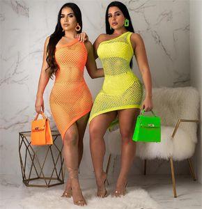 2020 HOT NEW Women Casual Dresses Beach Dress Sundress Sexy Woman Swimwear Cover Up 3 Pics Set Net Bikinis Dress