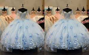 Chic Light Blue 3D Floral Flowers Ball Gown Quinceanera Prom dresses 2021 Cheap Tulle Lace Beaded Evening Formal Gowns Sweet 16 Vestidos De