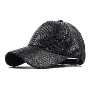 New hat women's autumn and winter sun visor Korean snake PU leather baseball men's crocodile cap fashion