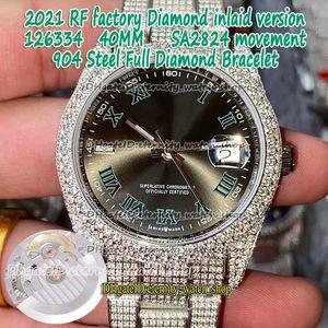 2021 RFF Diamond Inlaid версия 40 мм 126334 126333 Римский циферблат SA2824 Автоматический 126300 Mens Watch 904L Steel Cleig out Out Full Diamond Watches