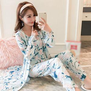 3pcs Woman Set Sling Cotton Sleepwear Pajamas For Women Long Sleeves Breathable Sexy Robe Homewear Pijama Mujer Bjxfe