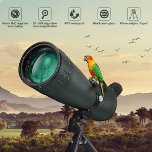 20 40 60mm Spotting Scope Waterproof Zoom Telescope Powerful Long Range PORRO Prism for Archery Night Vision Scope with Tripod Phone Holder