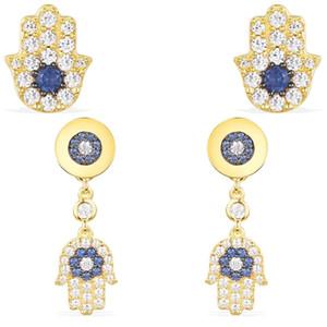 2021 New High-quality Temperament Magic Eye-shaped Palm Golden Palm Fashion Earrings Feminine Charm Jewelry Jewelry 857