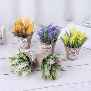 Artificial Plant Decorative Flower Home Decoration Fake Flower Small Mini Potted Bonsai Green Plant 1 Set and Vase