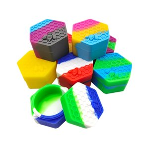 26ml Box Storage Silicone Dab Containers Hexagon Nonstick Honeybee container food grade jars holder Tool DHL Free