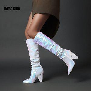 EMMA KING الجديد التدرج لون الركبة أحذية عالية معدنية WONEN سبايك الكعوب طويل أحذية السيدات منصة عرض الأزياء الشتوية 2020