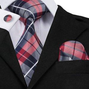 Hi-Tie 20 Renk Yenilik Polyester Boyun Kravat Seti Erkek Kravat Hanky Kol Düğmeleri Gravatas Corbatas Düğün Noel Partisi Bağları