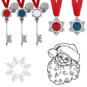 Christmas Decoration Magic Santa Claus Snowflake Key Chain Pendant Xmas Tree Ornaments Gifts DIY Necklace Jewelry OOA9701